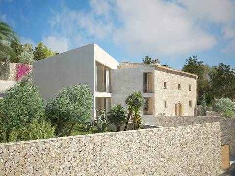 ALA40256RM Modern, stone-faced villa under construction in the picturesque village Alaro