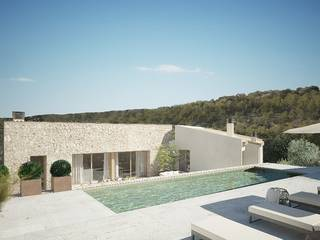 Modern, stone-faced villa under construction in the picturesque village Alaro