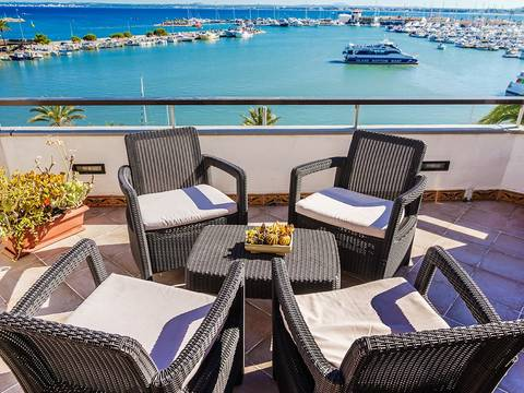 ALC11394 Frontline penthouse with terrace overlooking the marina and the bay in Puerto Alcudia