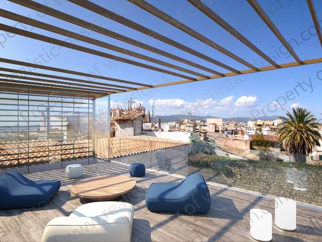 Quintessentially old town penthouse with breath taking views to the bay of Palma and cathedral