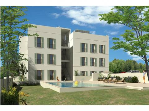 PTP11699 Modern apartment, under construction, with community pool in Puerto Pollensa