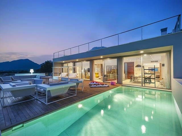 Modern luxury villa with ETV holiday rental license and sea views in Puerto Pollensa