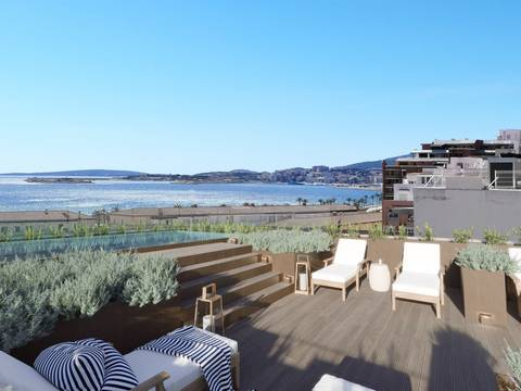SWOPAL10210 Garden apartment with a community roof terrace, pool and sea views in Palma