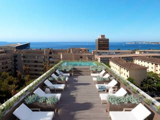 Garden apartment with a community roof terrace, pool and sea views in Palma