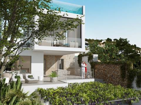 SWOPAL4991 Project of villa with wonderful terraces and roof top glass pool in Génova