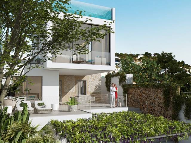 Project of villa with wonderful terraces and roof top glass pool in Génova