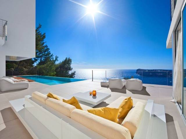 New Ibiza style luxury villa with breathtaking sea views and sunsets in the sea all year round
